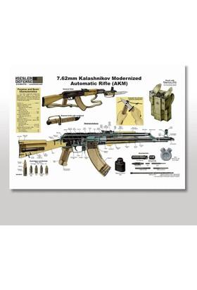 Tablomega Ahşap Tablo Ak-47 kalaşnikof Afiş 25x35 Cm