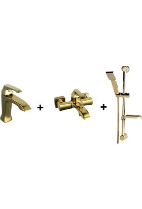 Creavit Avangart Lavabo Banyo Duş Seti Altın