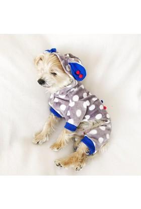 Kemique Double Bunny Dots Lacivert Kulaklı Tulum Köpek Kıyafeti
