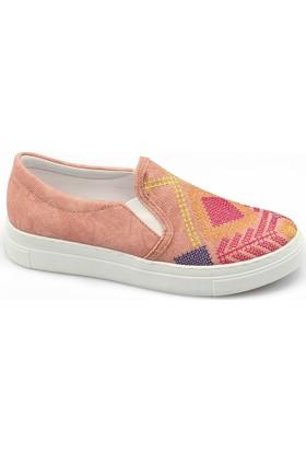Ccway 2121 Kilim Nakışlı Vans Günlük Yürüyüş Bayan Ayakkabı