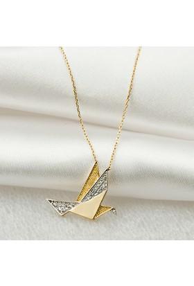 Jival Origami Güvercin 14 Ayar Altın Kolye