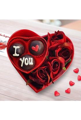 Lezzetliçiçek Kalp Saksı Kırmızı Güller ve Çikolata