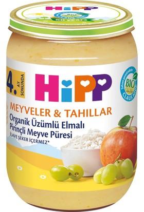 HiPP Organik Üzümlü Elmalı Pirinçli Meyve Püresi 190 gr.