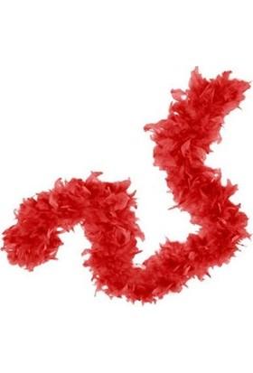 Partistok Kırmızı Tüylü Otriş Tüy Boa Kalın