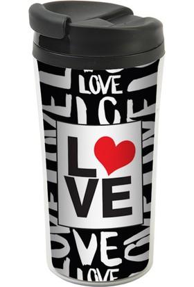 Allmug İç-Dış Plastik Termos -Love