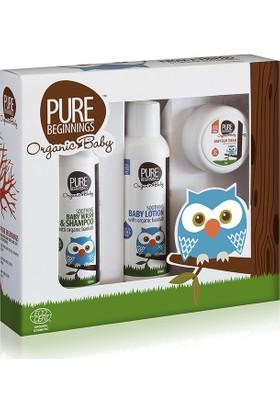 Pure Beginnings Organik Bebek Bakım Seti - Ekonomik Şampuan, Losyon, Pişik kremi