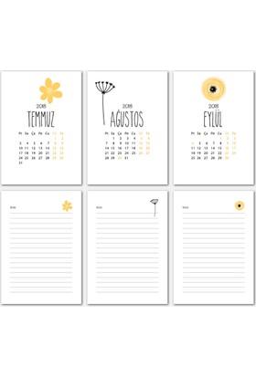 Sarı Renkli Tasarımlı Takvim 2018