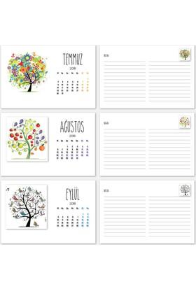 Mevsim Ağaç Yatay Tasarımlı Takvim 2018