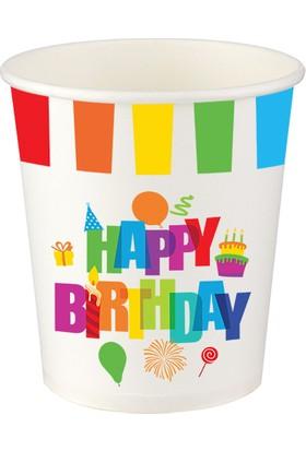 PartiBulutu Renkli Doğum Günü Karton Bardak 8'li