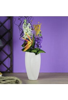 Ancel An311Nc2133 Dalgalı Seramik Kırık Beyaz Vazo