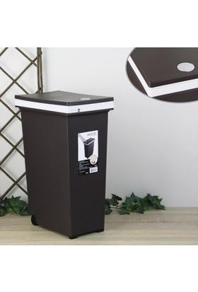 Ancel An324Fs852B Dokunmatik Düğmeli Tekerlekli Orta Boy Çöp Kovası Kahverengi