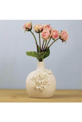 Ancel An325Qmf25 Porselen Çiçekli Küp Vazo