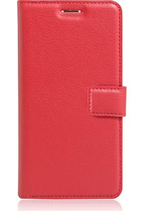 CaseUp Samsung J5 Prime Cüzdanlı Suni Deri Kılıf Kırmızı + Cam Ekran Koruyucu