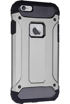 CaseUp Apple iPhone 6S Plus (5.5'') Tank Kılıf Gümüş + Cam Ekran Koruyucu