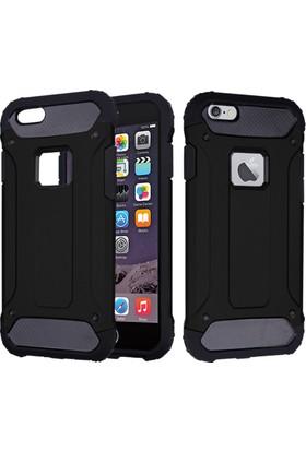 CaseUp Apple iPhone 6S (4.7'') Tank Kılıf Siyah + Cam Ekran Koruyucu
