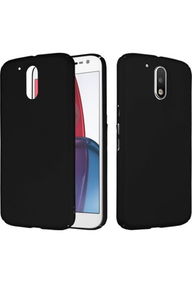 CaseUp Motorola Moto G4 Plus Rubber Kılıf Siyah + Cam Ekran Koruyucu