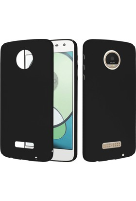 CaseUp Motorola Moto Z Play Rubber Kılıf Siyah + Cam Ekran Koruyucu