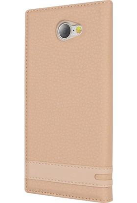 Microsonic General Mobile GM6 Dual View Gizli Mıknatıslı Kılıf Gold