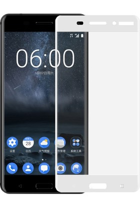 Microsonic Nokia 6 3D Kavisli Temperli Cam Ekran Koruyucu Beyaz