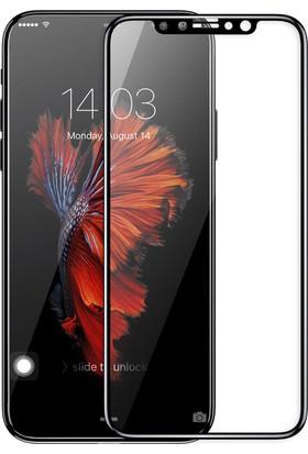 Microsonic Apple iPhone X Tam Kaplayan Temperli Cam Ekran Koruyucu Siyah