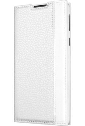 Microsonic Vodafone Smart V8 Gizli Mıknatıslı Delux Kılıf Beyaz