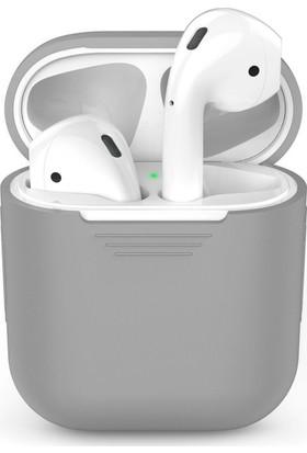 Microsonic Apple Airpods Bluetooth Kulaklık İçin Silikon Kılıf Gri