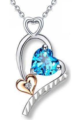 Jessini Kalp Tutulması Pırlantalı Aqua Kolye