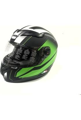 Motosiklet Kaskı Sway Full Face Sw812 Yeşil Mat Siyah Beyaz (XXL) Beden 22 05