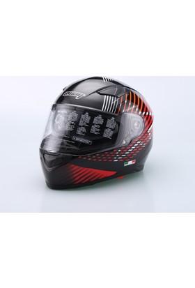 Motosiklet Kaskı Sway Full Face Güneş Vizörlü Sw816 Siyah Kırmızı (XXL) Beden 22 05