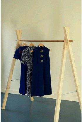 Toptanix Katlanabilir Elbise Askısı Çamaşır Askılık Kurutmalık Masif Ağaç