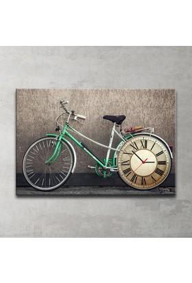Plustablo Vintage Bisiklet Saatli Kanvas Tablo