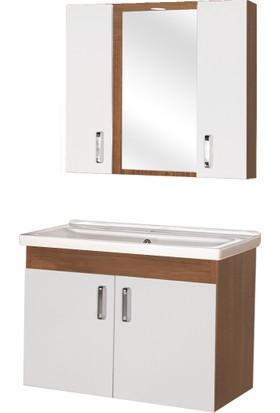 Hepsiburada Home Saydam Nova 80 Cm Mdf Banyo Dolabı Teak Beyaz