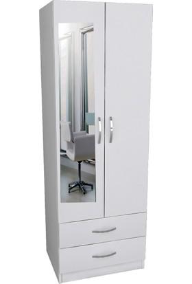 Longlife 2 Kapı 2 Çekmeceli Aynalı Gardırop
