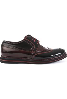 Xint Parlak Siyah Bordo Ayakkabı