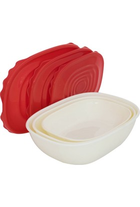 EW's Kitchenware Kitchenware Akrilik 3Lü Saklama Kabı Kırmızı