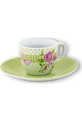 EW's Kitchenware Porselen Vintage Tekli Kahve Fincanı Yeşil