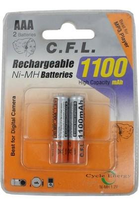 C.F.L. 1100 mAh 2 x AAA Şarj Edilebilir İnce Kalem Pil