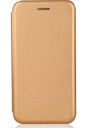 Sonmodashop Xiaomi Redmi 4x Flip Cover Mıknatıs Kapaklı Kılıf + Ekran Koruyucu Cam - Gold