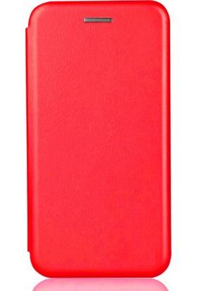 Sonmodashop Xiaomi Redmi 4x Flip Cover Mıknatıs Kapaklı Kılıf + Ekran Koruyucu Cam - Kırmızı
