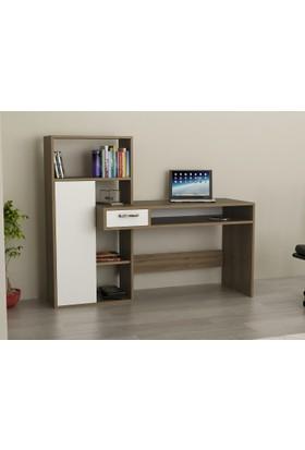 Endizayn Bilgisayar Masası Ceviz Beyaz