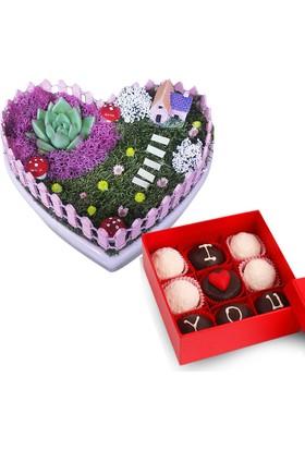 Kalp Teraryum Sevgiliye Çiçek