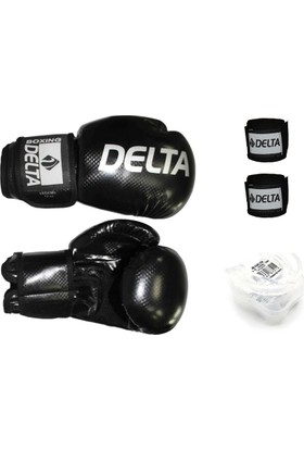 Delta Boks Eldiven Seti -Siyah (1 Çift Boks Eldiveni + 1 Çift Kol Bandajı + Dişlik)