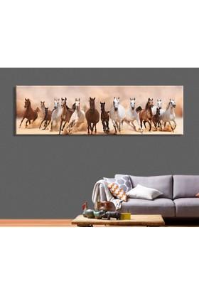 Tablo Art House Panoramik Atlar Kanvas Tablo 30x90