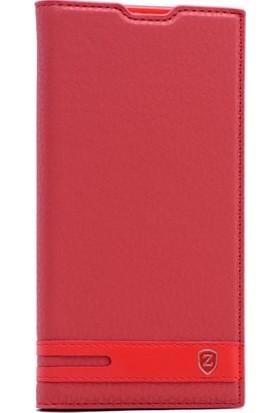 CoverZone Htc Desire 825 Düz Elite Kapaklı Kılıf - Kırmızı