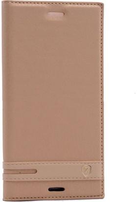 CoverZone Sony Xperia XZ Premium Kapaklı Kılıf - Altın