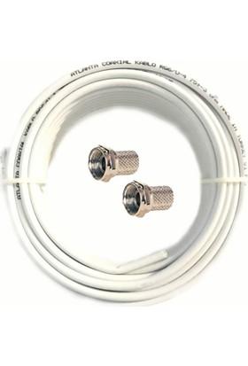 Atlanta RG6/U4 Koaksiyel Kablo (30 mt) + 2 Adet F Konnektör