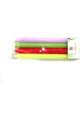 Nur Mum Standart 4 Lü Renkli Mum 23 Cm