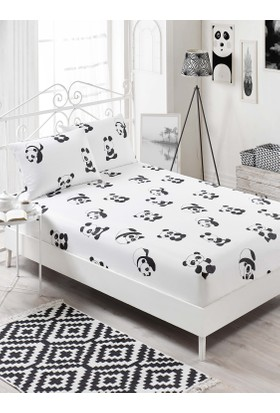 Eponj Home B&W Lastikli Çarşaf Seti Çift Kişilik Panda