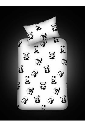 Eponj Home B&W Lastikli Çarşaf Seti Tek Kişilik Panda