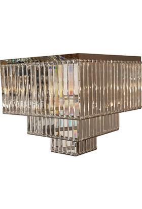 Cenova 40 lık 3 katlı Krom Şeffaf Renkli Avize